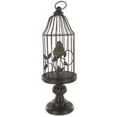 Antique Brown Bird Cage on Stand with Bird